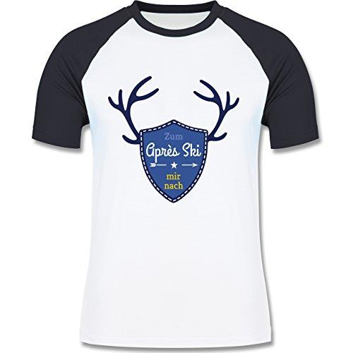 Après Ski - Mir nach Wappen mit Hirsch Geweih - zweifarbiges Baseballshirt für Männer Weiß/Navy Blau