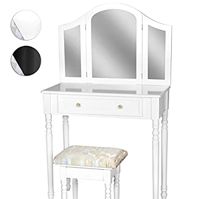 Miadomodo Make-up Table with Mirror and Footstool