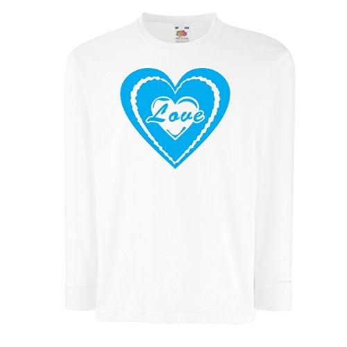 Kinder-T-Shirt mit Langen Ärmeln Ich Liebe Dich - Valentinsgrußtag zitiert große Geschenke (14-15 Years Weiß Blau)