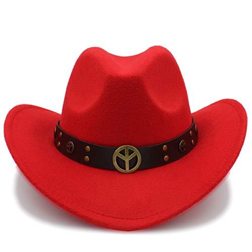 Kostüm Cowgirl Rote - Fang-hats shop, Damen Hut, Cowboyhut, modisch, Winter-Wildleder-Optik, Wild West-Kostüm, für Herren und Damen, Cowgirl-Mütze, rot, 55-58 cm
