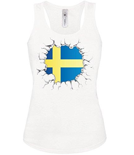 Golebros Schweden Fussball Fanshirt Brust 5802 Damen Fan Fun Tank Top Funshirt Weiss XL