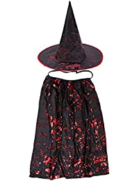 Amosfun Kids Halloween Cloaks Cosplay Witch Cape with Hat Performance Party Fancy Dress Costume Children's Party Decoration Halloween Costumes