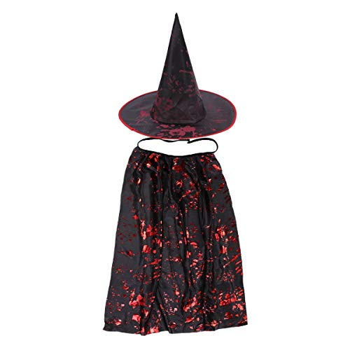BESTOYARD Kinder Hexen Umhang Halloween Zauberer Kostüm (Schwarz)