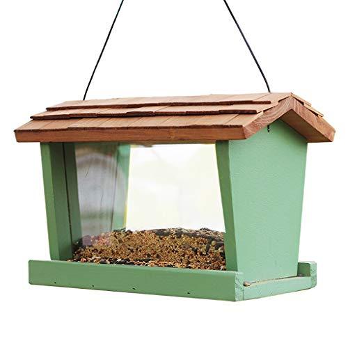 HBJP Im Freien bedeckter Vogelzufuhr- / hängender hölzerner Vogelfutterbecher/vorderes und hinteres Plexiglasentwurf wasserdicht und tragbar