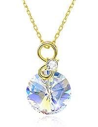 7568a0793ca0 Collar de plata de ley 925 con colgante de círculo y piedras preciosas para mujeres  y
