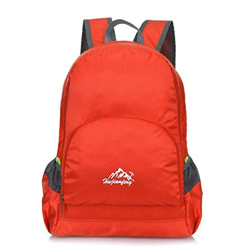 Kingko® Man Mini Canvas Outdoor Backpack Folding Bag Small Bag Waist Bag Daypack Sport Camping Waterproof Tote bags Rucksack (red)
