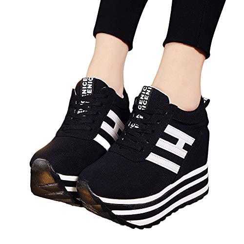 Sportschuhe Frauen Casual Schnürschuhe Sneaker Canvas High-Top Dicke Bottom Schuhe Laufschuhe Fitness Atmungsaktiv Sneakers Schnürschuhe Erhöhte Freizeitschuhe ()