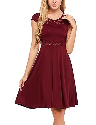 ACEVOG Damen Elegant Sommer Kleid Spitzen Cocktailkleid Knielang Partykleid Festlich Kleid Ballkleid