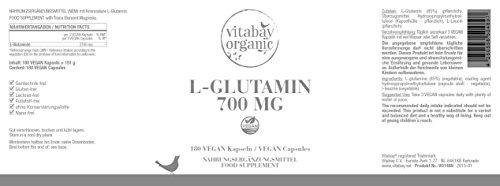 L-Glutamin 700 mg – 180 vegane Kapseln – freie Form, Reinsubstanz frei von Hilfs und Zusatzstoffen, vegan