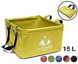 Outdoor Bol Pliable 15 L | Pliable Camping Cuvette pour Transporter et abwaschen de Vaisselle et Aliments (04 Jaune)