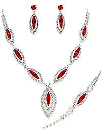 Schmuckanthony Schmuckset Hochzeit Brautschmuck Abend Schmuck Silber Kette Armband Ohrringe Kristall klar Transparent Rot
