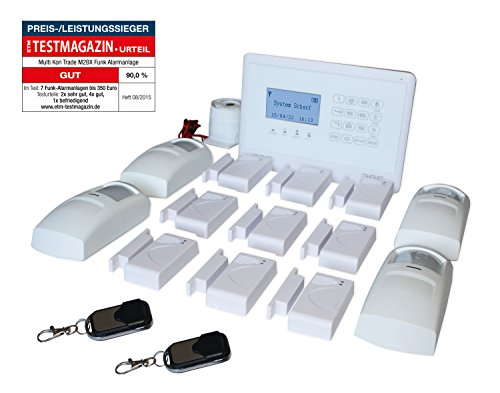 Multi Kon Trade GSM Funk-Alarmanlage Set von Multi Kon Trade I Alarmanlage Komplettsystem M2BX SET-4 I Touch Alarmanlage mit Bewegungsmelder, Tür- und Fensterkontakt, Fernbedienung, externe Sirene und App Steuerung