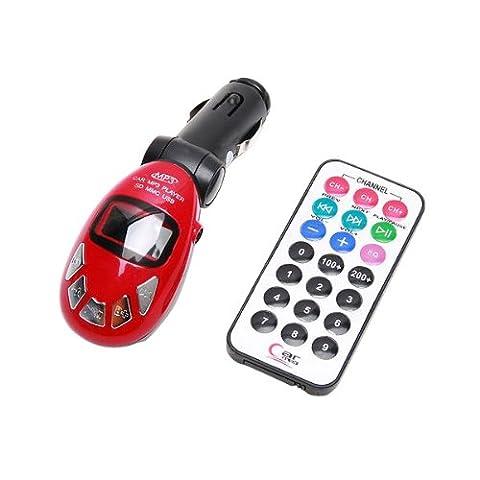 Sans Fil USB FM Transmetteur Voiture Auto MP3 Player Lecteur SD MMC Télécommande rouge