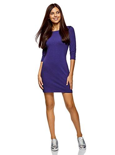 oodji Ultra Damen Jersey-Kleid Basic, Violett, DE 36 / EU 38 / S