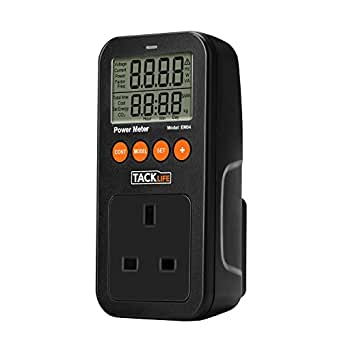 Wattmeter Tacklife EM04 SmartPower Meter Energy Watt Voltage Amps Electricity Usage Monitor Tester with Overload Warning, LCD Display for Saving Energy Cost