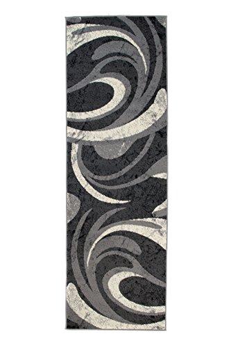 Alfombra 80 x 200 cm Gris Moderna Decoración Olas
