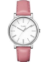 Timex T2P163D7 - Reloj analógico de cuarzo para mujer con correa de piel, color rosa