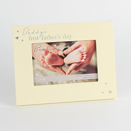 Bambino daddy s first father' s day cream photo frame con cristalli–1st regalo per la festa del papà