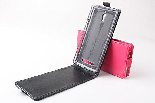 Baiwei Easbuy Schwarz Pu Leder Kunstleder Flip Cover Tasche Hülle für OPPO Find 7 X9007 Smartphone Tasche Hülle Case Handytasche Handyhülle Schutzhülle Etui