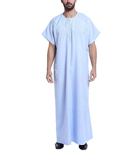 Bmeigo Herren Muslim Embroidered Middle East Thawb Kaftan Abaya Kurzarm Robe