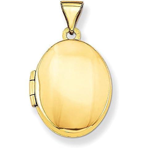 Oro 14K Plain lucido medaglione ovale
