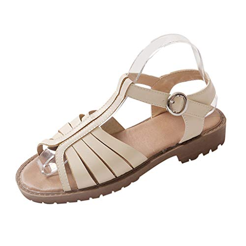 SEHRGUTGE Damen Low Top Gladiatoren, T Bar Outdoor Sandalen, Bequeme Schnallen Plateausandalen