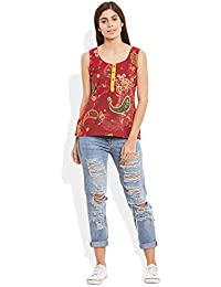 Samarth Fab Women's Cotton Printed Short Top Size:- 38 / Xl (Maroon)