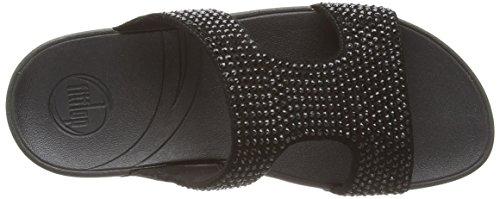 Fitflop Rokkit Slide, Sandales Femme Noir (black Diamond)