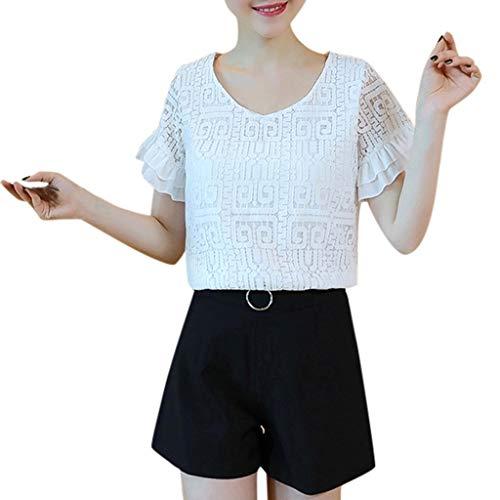 MOTOCO Damen Lässiges Hemd aus Spitze mit V-Ausschnitt und kurzen Ärmeln Elegantes Büro Damens-Oberteil(2XL(36),Weiß)