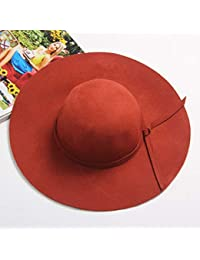 CWJ Sombreros de Mujer - Sombreros Retro otoño e Invierno Sombrero de Oveja  de Inglaterra señoras Sombrero Arco Sombrero Grande… c6051bcc7a4