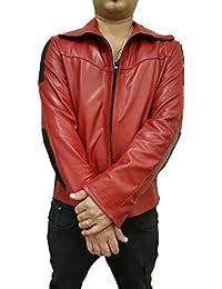 creazioniinpelle blouson veste cuir veritable moto s m l xl fabrique en  italie rouge 738a31179f91