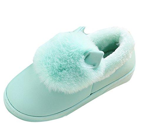 Icegrey Unisexe Chausson Pantoufles Fausse Fourrure 3D Vache Chaude Peau de Mouton Bottes D'intérieur Pour Couple Bleu clair