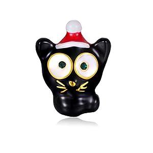 Candyfancy Weihnachten Nette Katze Revers Pin Badge Broschen Metall Emaille Funkelnden Kristall Strass Broaches Frauen Männer