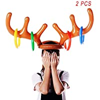 YYZP Christmas Party Inflatable Reindeer Antler Hat Ring Toss Game with Rings Xmas Fun Games for Family Kids