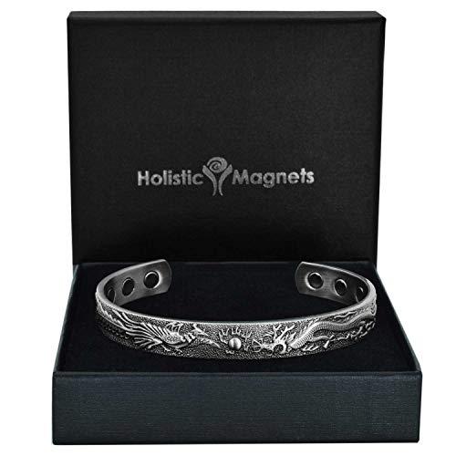 Holistic Magnets® Magnetarmband Damen Herren Kupfer Armband (Anlauffarbenfrei) Geschenkideen Handgelenk Gelenkheilung Armreif +Geschenkbox (PDP)-Pfau und Drache (M: Handgelenk 16,5-19,5cm)