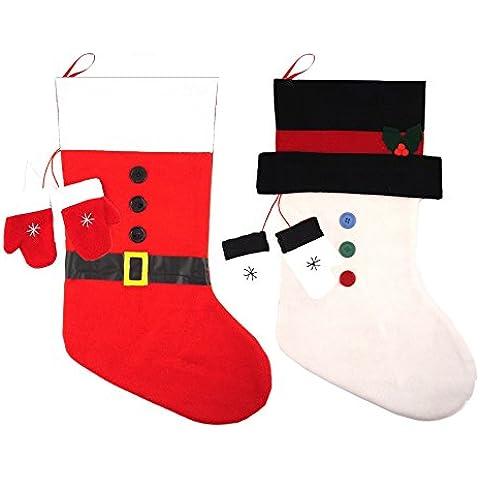 Red White & pupazzo di neve, Babbo Natale, in feltro, motivo calze natalizie con muffole 50 cm x 30 cm (Set di 2)