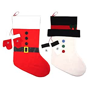 Calze di Natale in feltro, motivo Babbo Natale e pupazzo di neve, con guantini, 50 cm x 30 cm, set da 2
