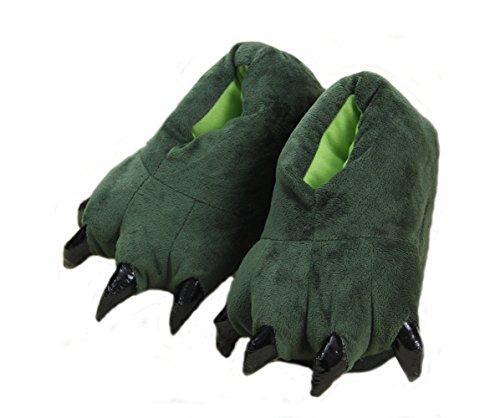 Cartoon Tierpfoten warme Schuhe zu Hause Schuhe neutral weiche Pfoten Plüschpantoffel Schuhe Grün
