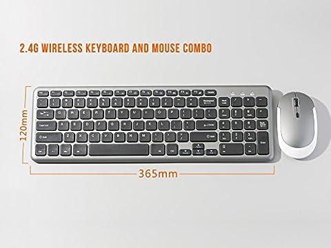 2.4G Wireless Tastatur und Maus Set, LinDon-Tech Wireless-Tastatur-Maus-Sets für Windows 10 8 7 XP Vista - QWERTY US-Layout