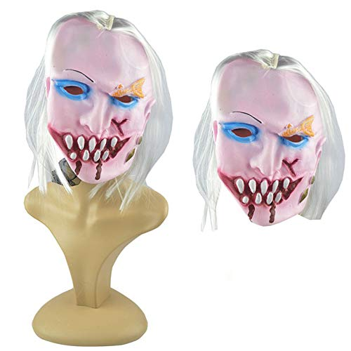 Q Kostüm Tipp - J-MASK Halloween Maske Zombie Grimasse Horror Scary Tricky Maske Geeignet Für Erwachsene Männer Und Frauen Q