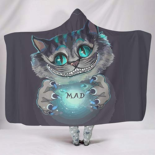 Born for-Anime Bat Blanket Mad Cheshire Cat Themed Print Premium Wearable Blanket Hoodie - Growing Cat Two Sizes Fits Men Use white 203x139cm