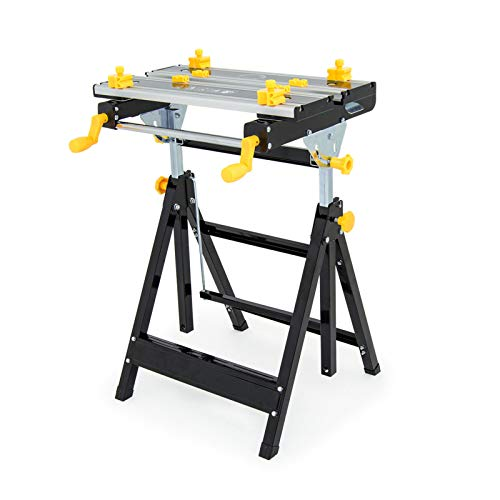 Wolf Craftman's Super Folding Workbench - Adjustable 6 Height Workmate Steel Frame Tilting Aluminium Top