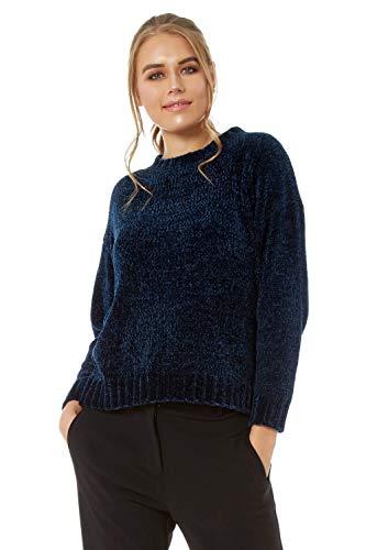 Roman Originals Chenille-Langarm-Pullover Rundhalsausschnitt - Damen Mode Pullover lässig für jeden Tag Herbst Winter Weihnachten besondere Anlässe - Navy Blue - Größe 46 -