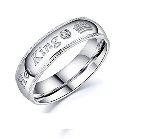 (Beydodo 1 Stuck Hochzeitsring Edelstahl Herren Her King Krone Zirkonia Partnerring Silber Verlobungsringe Gr.67 (21.3))