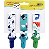 Cutebility Dummy Clips Baby Pacifier Clips 3 Pack Pacifier Holder Straps for Girls Plastic Teething Clips Modern Unisex Design(2)