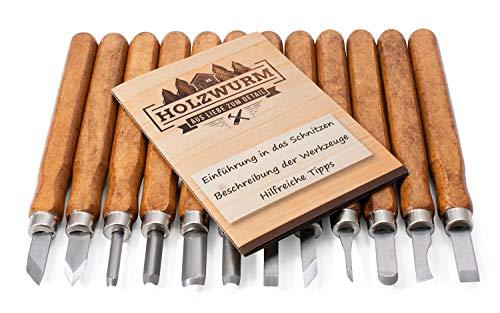 HOLZWURM Schnitzwerkzeug-Set 12-tlg inkl. Anleitung, Schnitzmesser für Holz, Gemüse, Obst uvm.
