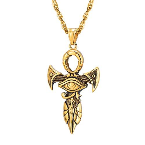 PROSTEEL Halskette Ankh Kreuz Horusauge Religiöse Schmuck für Männer Jungen Anhänger mit 55cm Kette Edelstahl/18k vergoldet/Schwarz Metall plattiert