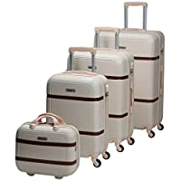 Chalish Luggage Trolley Bags for unisex 4pcs, Off White