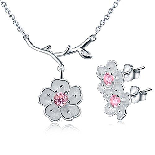 Silber Baby-mädchen (Schmuck-Set im Kirschblüten-Design aus 925erSterling-Silber (Halskette und Ohrringe))