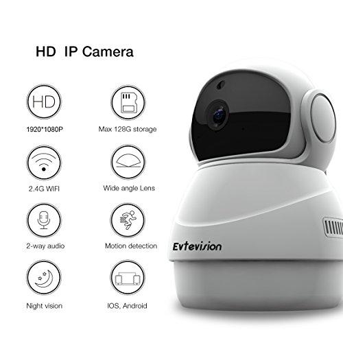 Evtevision-1080P-Cmara-IP-WIFI-HD-Camaras-de-Vigilancia-inalmbrico-Nube-P2P-IR-Vision-nocturna-con-Micrfono-y-Altavoz-Deteccin-de-Movimiento-Audio-de-2-Vas-Detector-de-Movimiento-Pan-Tilt-Grabador-de-